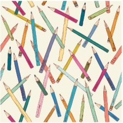 Art Print: Seamless Texture with Hand Drawn Comic Pencils. Colorful Endless Pattern. Template for Design Backg by Mikhaylova Liubov: 12x12in