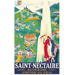 Premium Giclee Print: Saint-Nectaire - Auvergne, France - Casino, Golf - Station du Rein - PLM French Railroad by Roger De Valerio: 36x24in