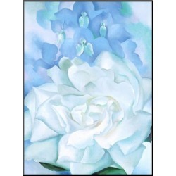 Mounted Print: White Rose W/ Lakspur No.2 by Georgia O'Keeffe: 27x20in