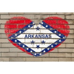 Photographic Print: Heart Shape Flag of Arkansas on Brick Wall by vepar5: 24x16in
