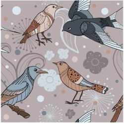 Art Print: Seamless Pattern with Hand Drawn Ornate Birds with Flowers. Vector Background. by lena nikolaeva: 12x12in
