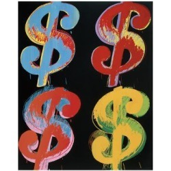 Giclee Print: Four Dollar Signs, c.1982 (blue, red, orange, yellow) by Andy Warhol: 14x12in found on Bargain Bro India from Art.com for $30.00