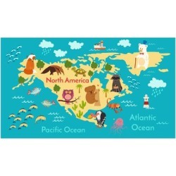 Art Print: Animals World Map North America by coffeee in: 24x16in