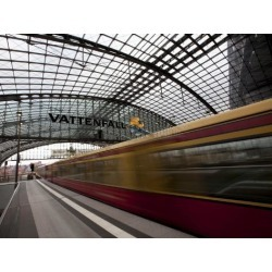 Photographic Print: Train Leaving Berlin Hauptbahnhof, the Main Railway Station in Berlin, Germany, Europe by Carlo Morucchio: 24x18in