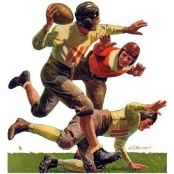 "Giclee Print: ""Quarterback Pass,""October 12 Art Print by Maurice Bower: 16x16in"
