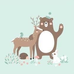 Art Print: Vector Illustration, Forest Animals, Deer, Bear, Rabbit, Hedgehog, Bird by Inna Moreva: 12x12in