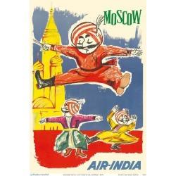 Art Print: Moscow Russia - Air India Mascot Maharaja - Barynya Russian Folk Dance by J.B. Cowasji: 12x9in