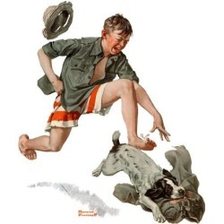 """Giclee Print: """"Runaway Pants"""", August 9,1919 Art Print by Norman Rockwell by Norman Rockwell: 16x16in"""