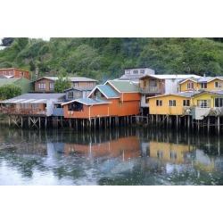 Photographic Print: A palafita stilt village in Castro, Chiloe Island, northern Patagonia, Chile, South America by Alex Robinson: 36x24in