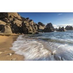 Photographic Print: Waves crashing on the sandy beach framed by cliffs, Capo Testa, Santa Teresa di Gallura, Italy by Roberto Moiola: 24x16in