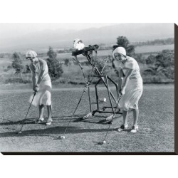 Stretched Canvas Print: Golf Robot by The Vintage Collection: 18x24in