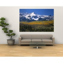 Giant Art Print: Mountains Covered in Snow, Sneffels Range, Colorado, USA: 72x48in
