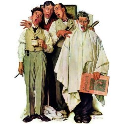 Giclee Print: Barbers Art Print by Norman Rockwell by Norman Rockwell: 24x18in