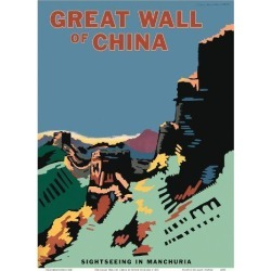 Art Print: The Great Wall of China - Sightseeing in Manchuria (Manzhou) - Manzhou Railway Administration by Seibin Higuchi: 12x9in