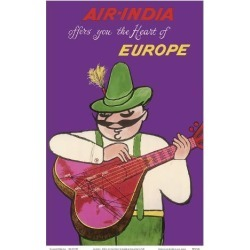 Art Print: Air India - Offers you the Heart of Europe - Air India's Mascot Maharajah in Bavarian Lederhosen by Umesh Rao: 18x12in