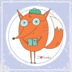 Art Print: Vector Hand Drawn Fox with Book by RonAleksandra: 12x12in