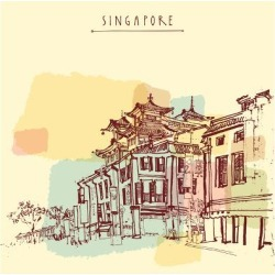 Art Print: Singapore China Town Drawing. Vintage Travel Postcard or Poster with Hand Lettering by babayuka: 12x12in