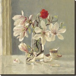 Stretched Canvas Print: Magnolia and Red Tulip by Valeriy Chuikov: 30x30in found on Bargain Bro India from Art.com for $204.00