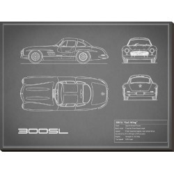 Stretched Canvas Print: Mercedes 300SL Gullwing-Grey by Mark Rogan: 30x40in found on Bargain Bro Philippines from Art.com for $155.00