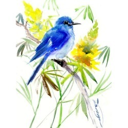 Giclee Print: Mountains Bluebird And Yellow Flowers by Suren Nersisyan: 24x18in found on Bargain Bro India from Art.com for $40.00