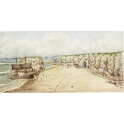 Giclee Print: Brig Aground at Marsden Rock (Watercolour, Bodycolour and Pencil on Paper on Card)) by James Henry Cleet: 24x16in