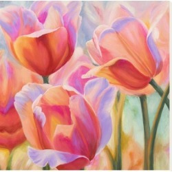 Stretched Canvas Print: Tulips in Wonderland II by Cynthia Ann: 24x24in found on Bargain Bro Philippines from Art.com for $145.00