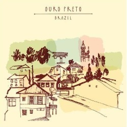 Art Print: Ouro Preto, Minas Gerais, Brazil. Colorful Vintage Hand Drawn Postcard or Poster in Vector by babayuka: 12x12in