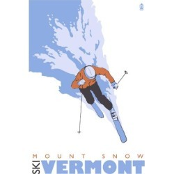 Art Print: Mount Snow, Vermont, Stylized Skier Art Print by Lantern Press: 24x18in found on Bargain Bro India from Art.com for $35.00