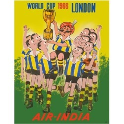 Giclee Print: 1966 World Cup London, England - Air India - Maharaja Soccer Player by Pacifica Island Art: 14x11in