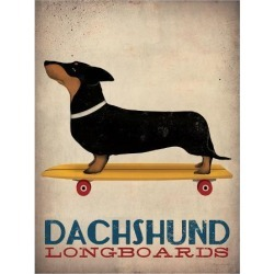 Art Print: Dachshund Longboards by Wild Apple Portfolio: 24x18in