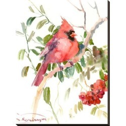Stretched Canvas Print: Northern Cardinal And Berries by Suren Nersisyan: 29x22in found on Bargain Bro from Art.com for USD $87.40