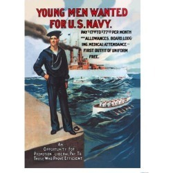 Art Print: Young Men Wanted for U.S. Navy Poster: 24x18in