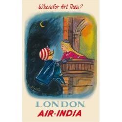 Premium Giclee Print: London, England - Wherefor Art Thou? - Maharajah Mascot Romeo - Air India by Pacifica Island Art: 32x24in