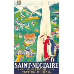Giclee Print: Saint-Nectaire - Auvergne, France - Casino, Golf - Station du Rein - PLM French Railroad by Roger De Valerio: 44x30in