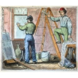 Giclee Print: Glazier and Wallpaper Hanger Working in a House, 1867: 24x18in
