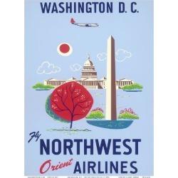 Art Print: Washington, D.C. - United States Capitol - Washington Monument - Fly Northwest Orient Airlines: 12x9in