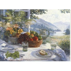 Stretched Canvas Print: Fruit in an Olive Wood Bowl by Stephen Darbishire: 24x32in found on Bargain Bro from Art.com for USD $167.20