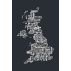 Art Print: Great Britain UK City Text Map Art Print by Michael Tompsett: 24x16in found on Bargain Bro India from Art.com for $20.00