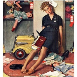 """Giclee Print: """"Santa's Helper"""", December 27,1947 Art Print by Norman Rockwell by Norman Rockwell: 16x16in"""