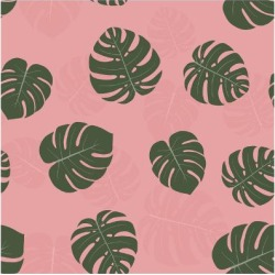 Art Print: Seamless Pattern with Hand Drawn Tropical Monstera by a barre: 12x12in