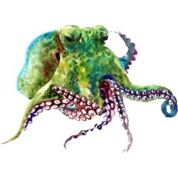 Art Print: Earth Green Octopus by Suren Nersisyan: 30x40in found on Bargain Bro from Art.com for USD $26.60