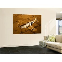 Wall Mural: A North American P-51D Mustang in Flight Wall Decal by Stocktrek Images: 72x48in found on Bargain Bro India from Art.com for $115.00