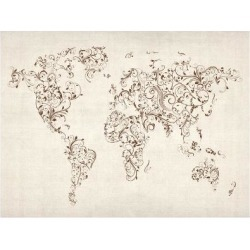 Art Print: Map of the World Map Floral Swirls Art Print by Michael Tompsett: 24x18in found on Bargain Bro India from Art.com for $20.00