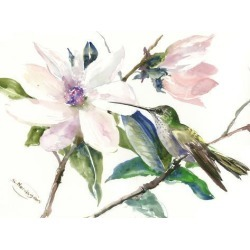 Art Print: Magnolia And Hummingbird 1 by Suren Nersisyan: 12x16in found on Bargain Bro from Art.com for USD $15.20