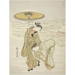 Giclee Print: The Snow-Clogged Geta, C.1767-68 by Suzuki Harunobu: 24x18in found on Bargain Bro India from Art.com for $25.00