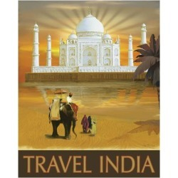 Art Print: Travel India by Kem Mcnair: 27x22in