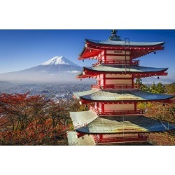 Photographic Print: Mt. Fuji and Pagoda during the Fall Season in Japan. by SeanPavonePhoto: 24x16in