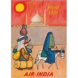 Premium Giclee Print: Middle East - Air India - Maharaja with Burka Veiled Woman by J B. Cowasji: 24x18in