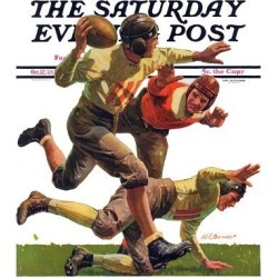 "Giclee Print: ""Quarterback Pass,"" Saturday Evening Post Cover, October 12, 1935 by Maurice Bower: 16x12in"