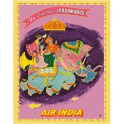 Giclee Print: My Beautiful Jumbo - Boeing 747 Jumbo Jet - Air India by Pacifica Island Art: 20x16in